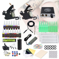 Beginner Complete Tattoo Kit 2 Machines Gun Black Ink Set Power Supply Grips Body Art Tools Set Permanent Makeup Tattoo set