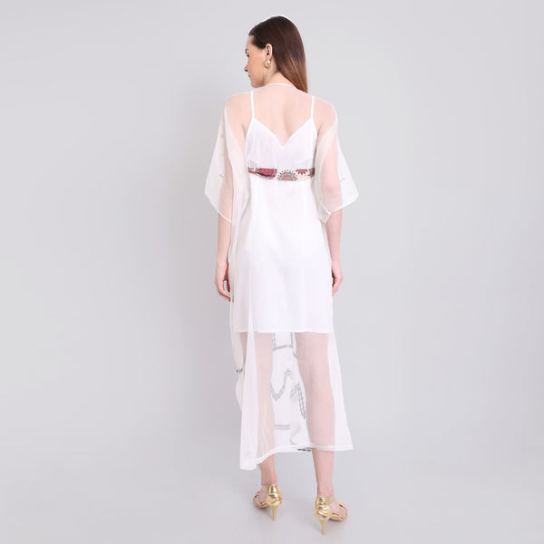 Grey Embroidered Kaftan With Printed Belt