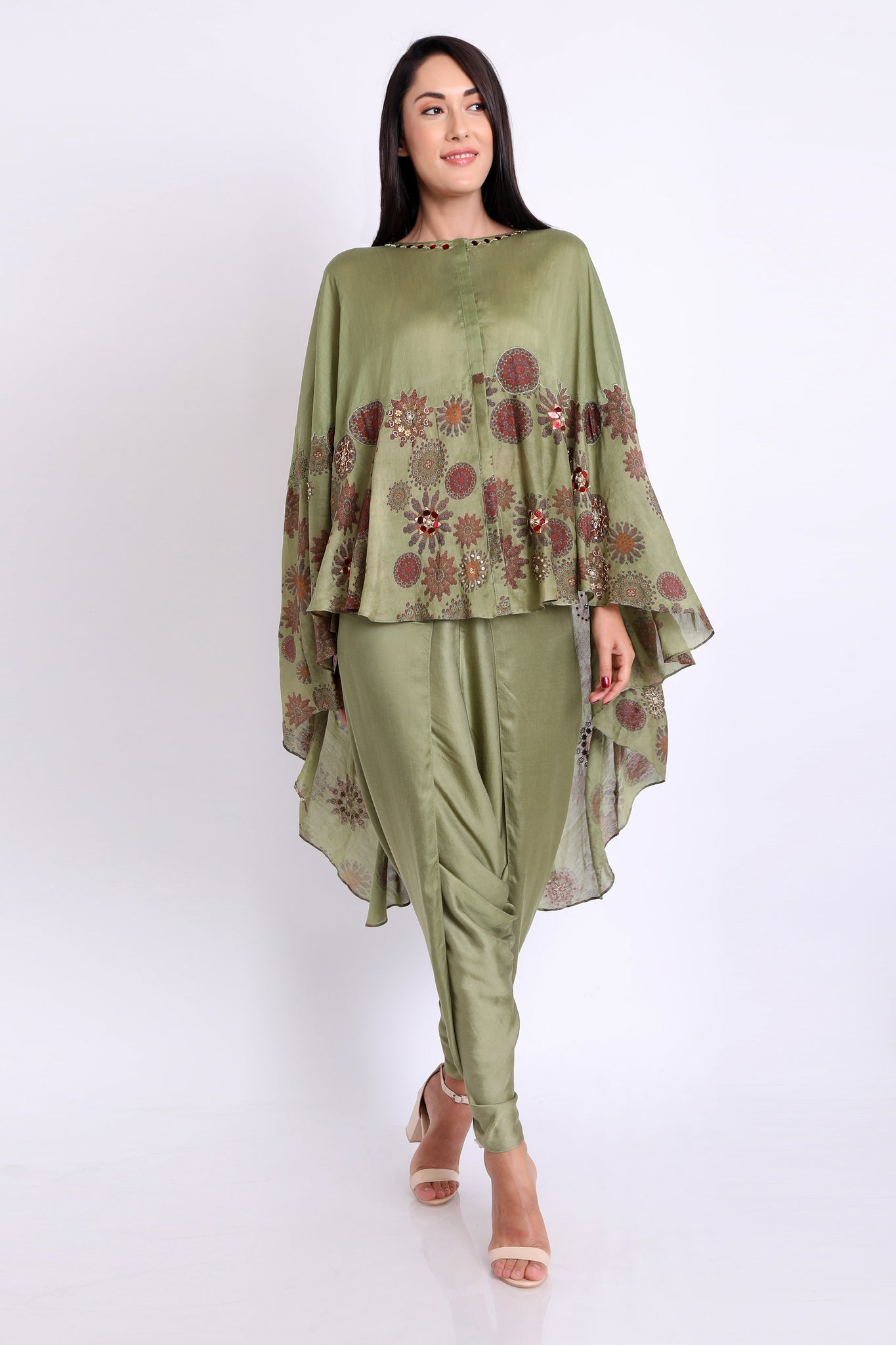 Sage Green Printed High Low Cape with Dhoti Pants