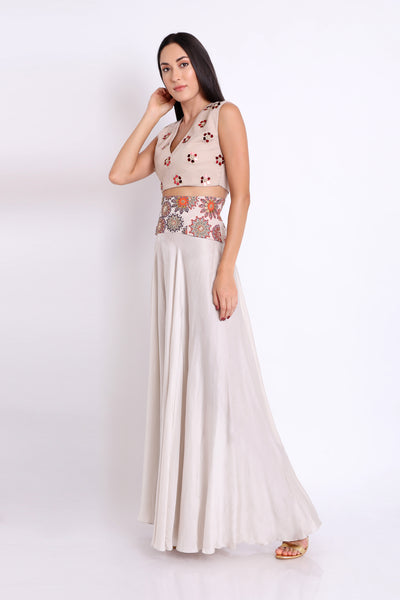 Embellished Crop Top Flared Pant Set