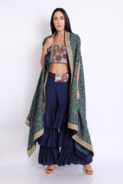 Flowy Cape, Sharara and Bustier set