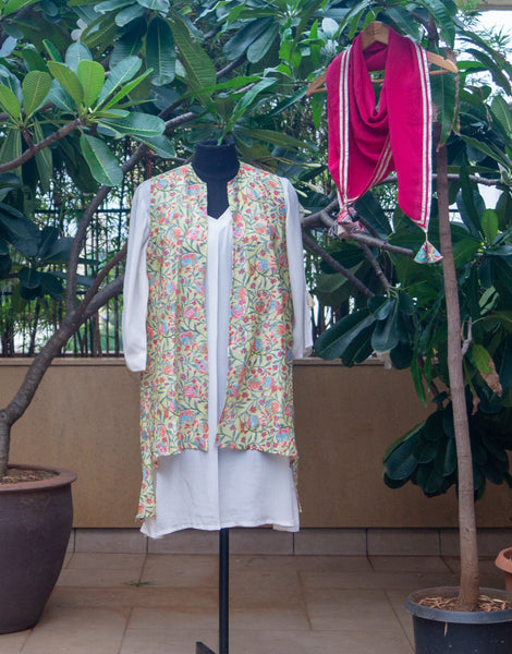 A-Line Kurta with Printed Jacket and Stole