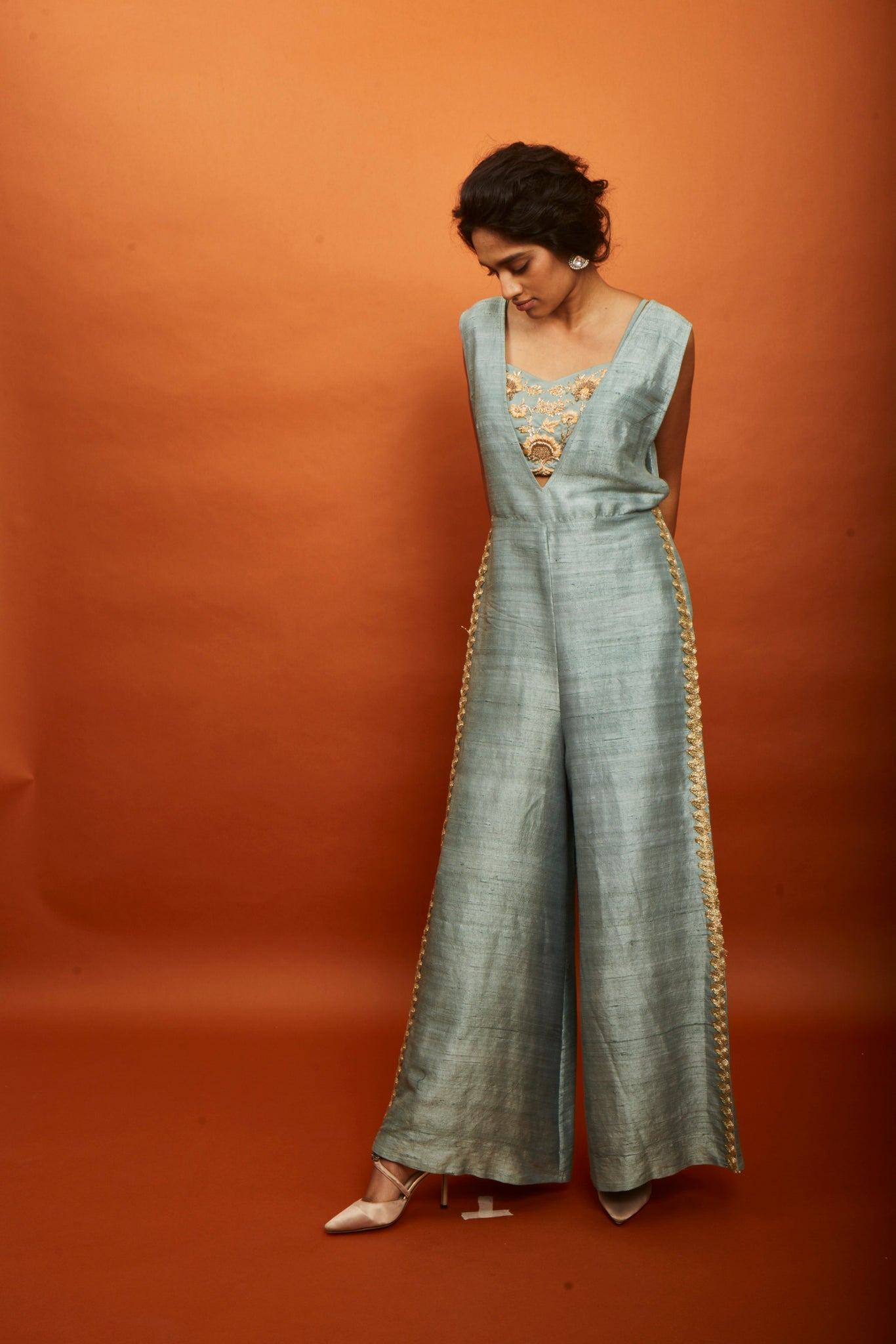 Jumpsuit With Embroidered Bustier