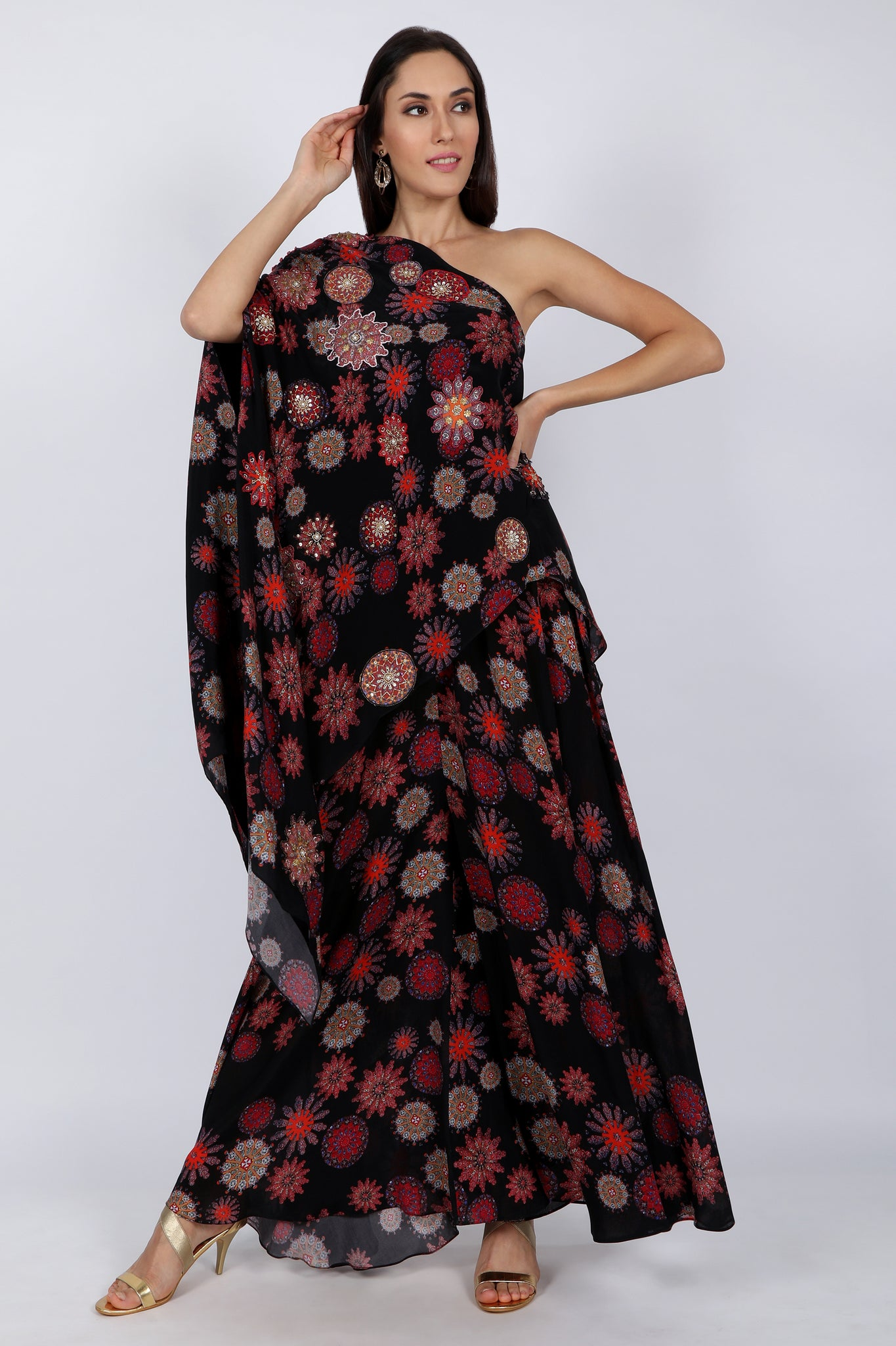 One-shoulder Kaftan with Sharara