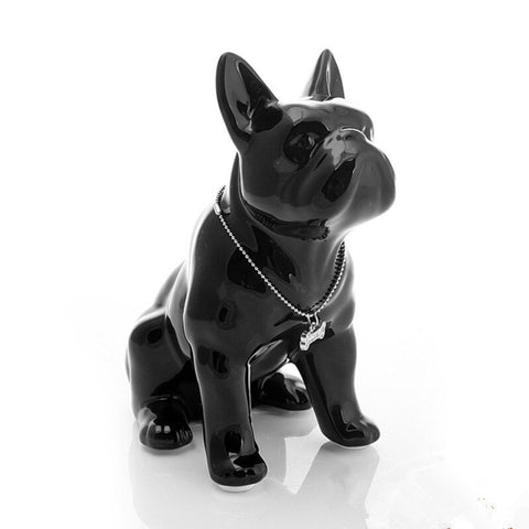 Statue Bouledogue Assis Noir