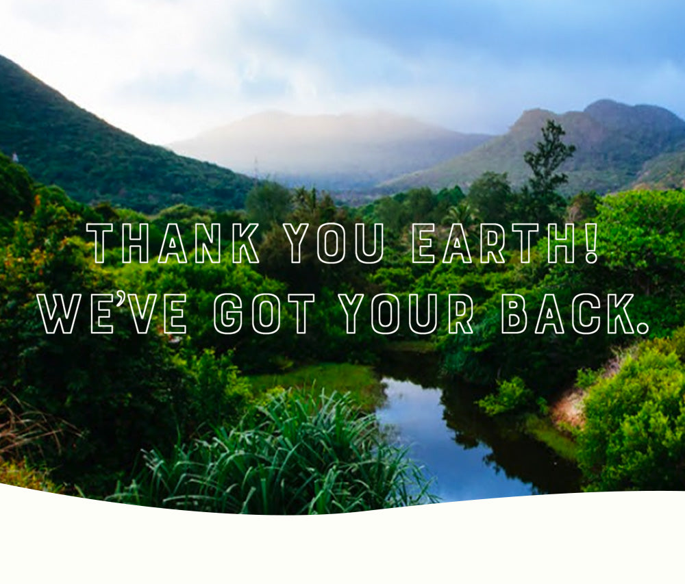 Thank You Earth, We've Got Your Back!  image of green mountains