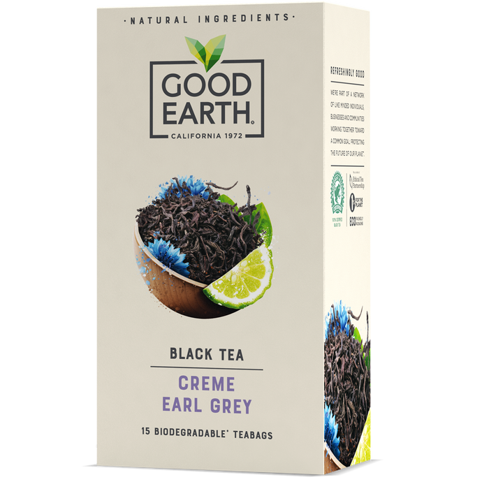 Good Earth Crème Earl Grey Tea Bags Front of Package