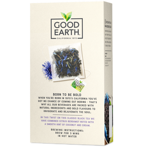 Good Earth Crème Earl Grey Tea Bags Back of Package