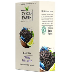 Good Earth Crème Earl Grey Tea Bags Right Side of Package