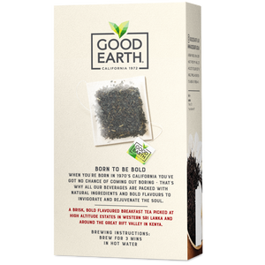 Good Earth Bold English Breakfast Tea Bags Back of Package
