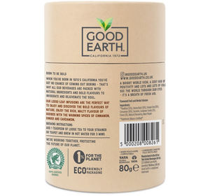 Good Earth Rooibos Chai Loose Leaf Tea Back of Package