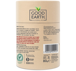 Good Earth Bold English Breakfast Loose Leaf Tea Back of Package