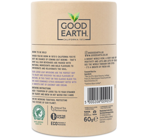 Good Earth Crème Earl Grey Loose Leaf Tea Back of Package