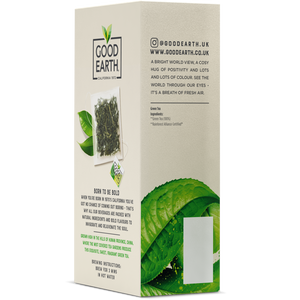 Good Earth Cloudmist Green Tea Bags Left Side of Package