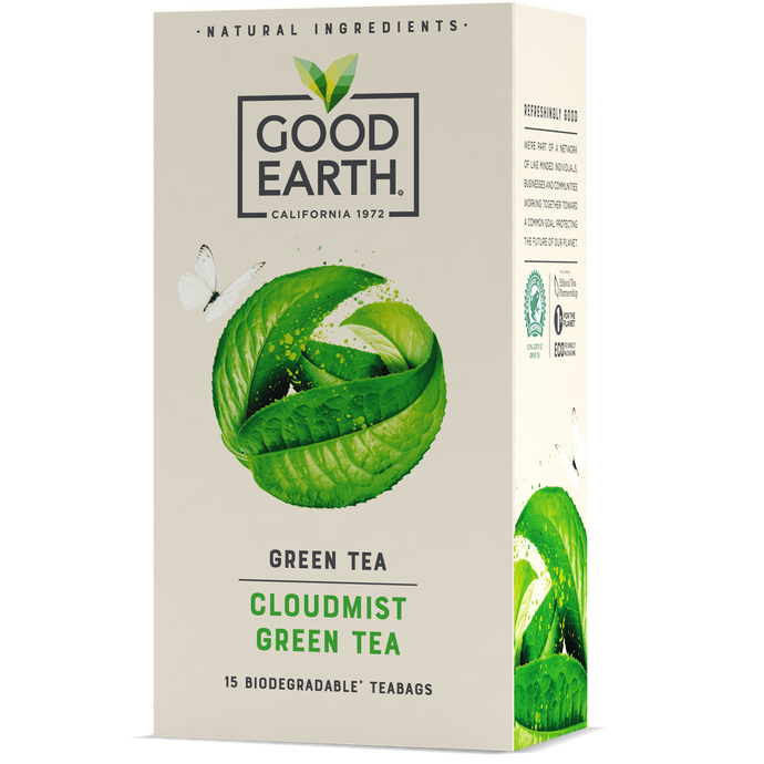 Good Earth Cloudmist Green Tea Bags Front of Package