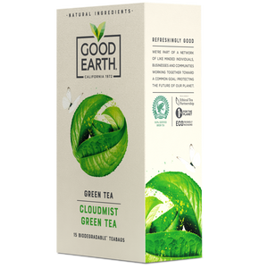 Good Earth Cloudmist Green Tea Bags Right Side of Package
