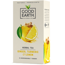 Load image into Gallery viewer, Good Earth Ginger, Turmeric & Lemon Tea Bags Front of Package