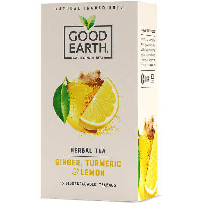 Good Earth Ginger, Turmeric & Lemon Tea Bags Front of Package