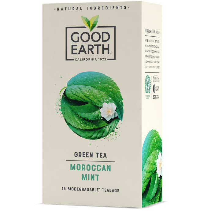 Good Earth Moroccan Mint Green Tea Bags Front of Package