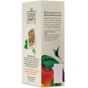 Good Earth Tropical Mango & Moringa Tea Bags Left Side of Package