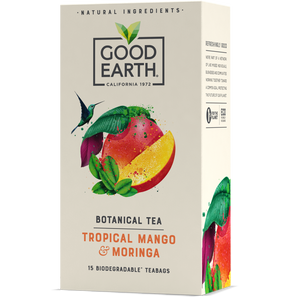 Good Earth Tropical Mango & Moringa Tea Bags Front of Package