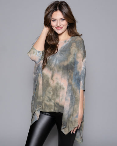 tan and olive green tie dye poncho top