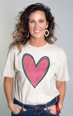 Valentine's Day graphic tee pink heart from Rosa Lee Boutique