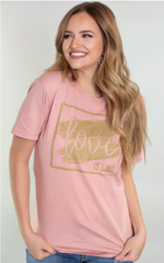 Valentine's graphic tee about love pink from Rosa Lee Boutique