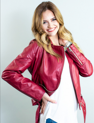 Red leather jacket from Rosa Lee Boutique