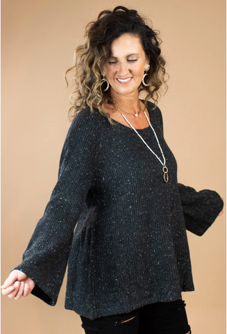 charcoal cozy bell sleeve sweater