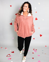 Fuzzy pink pullover from Rosa Lee Boutique