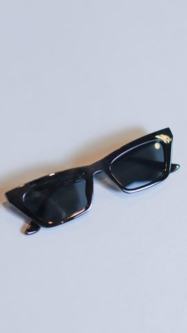 black glossy frame cat-eye sunglasses from Rosa Lee Boutique