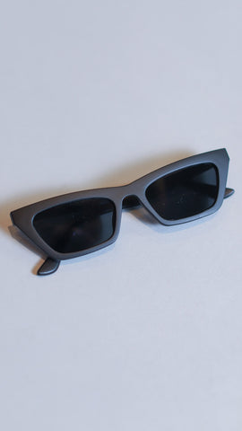 Black matte cat-eye sunglasses from Rosa Lee Boutique in Alabama