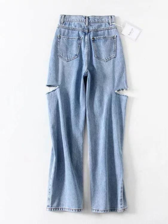 Empire Wide Leg Ripped Jeans