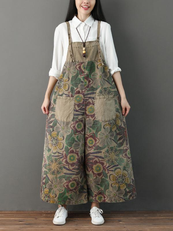 Vintage Loose Printed Wide Leg Pants