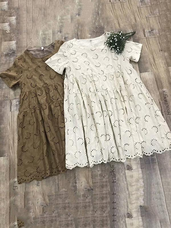 Cotton Vintage Embroidered Hollow Tiered Dress