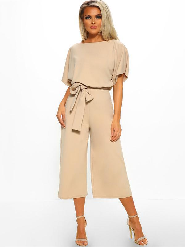 Round Neck Solid Color Jumpsuits