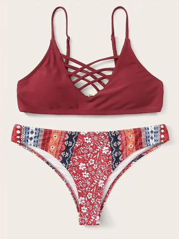 Printed High-Waist Bikini Swimwear
