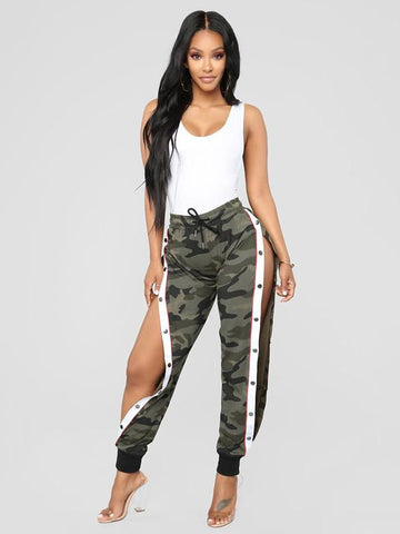 Fashion Casual Camouflage Split-Side Pants