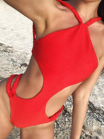 Sexy Backless Bandage One-Piece Swimwear