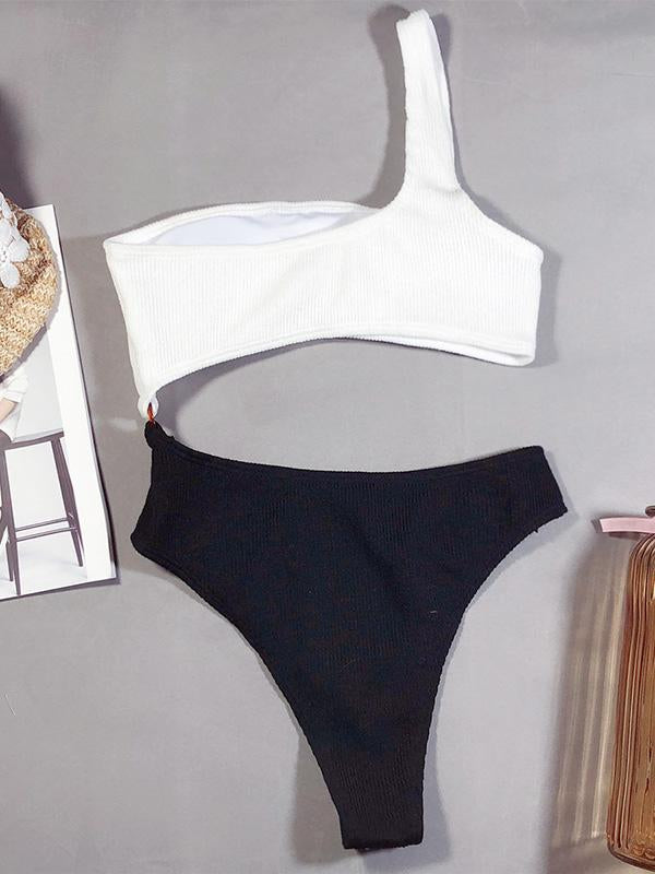 Sexy One-Shoulder Black White Split-Join Bikini Swimsuit