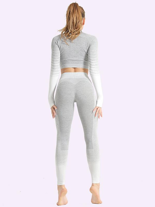 Sexy  Contrast Color Long Sleeves Yoga Suits