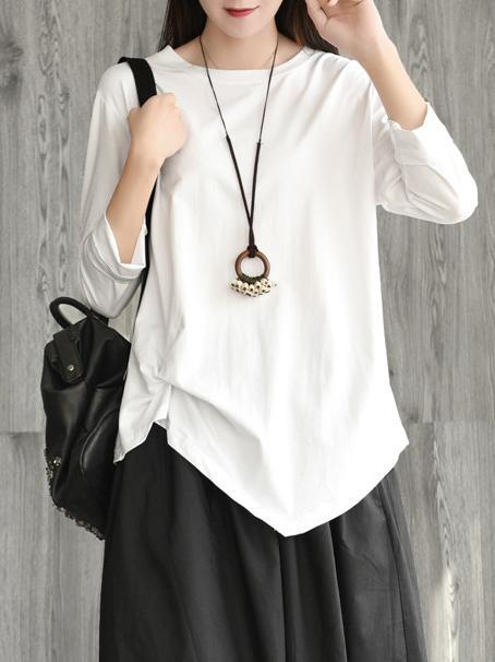 Vintage Cropped Ruffled Round-neck T-shirt