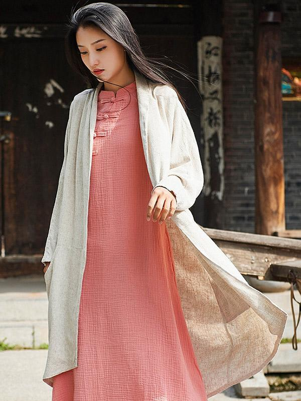 Retro Linen Cotton Long Cover-up