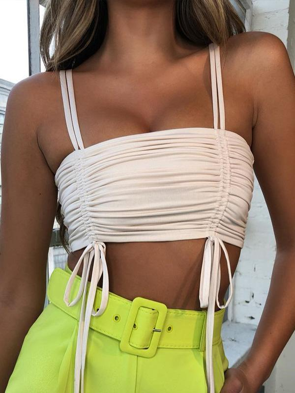 Tasseled Strapless Spaghetti-neck Tanks