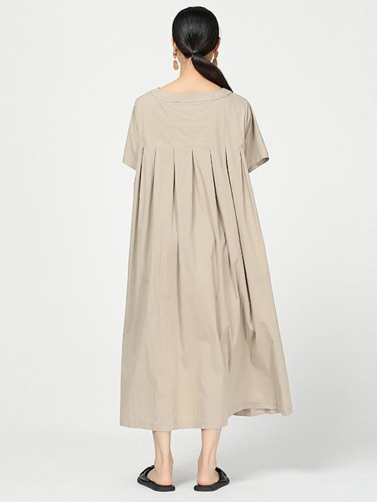 Ramie Loose Solid Round-neck Long Dress