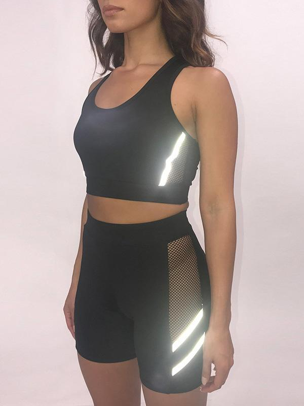 Reflective See-through Sports Bra And Shorts Suits