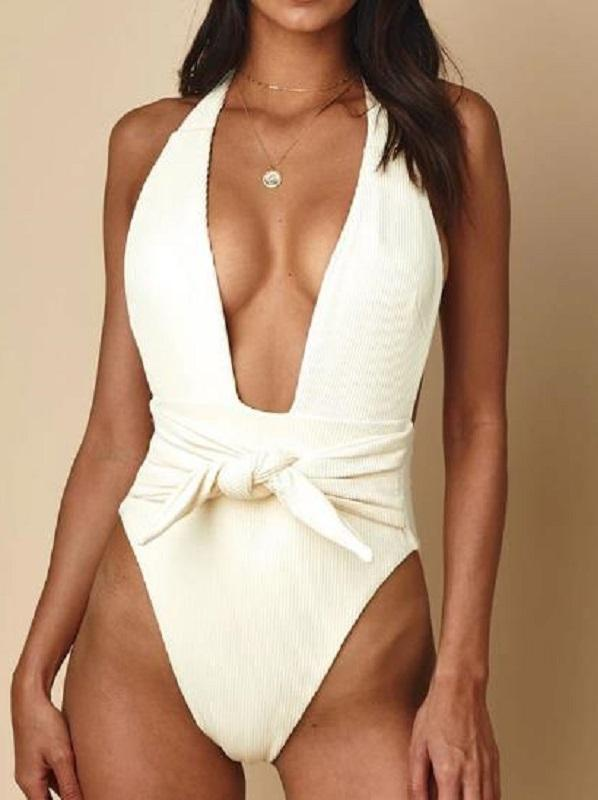 Sexy Deep V-Neck Knotted One-Piece Bikini Swimwear