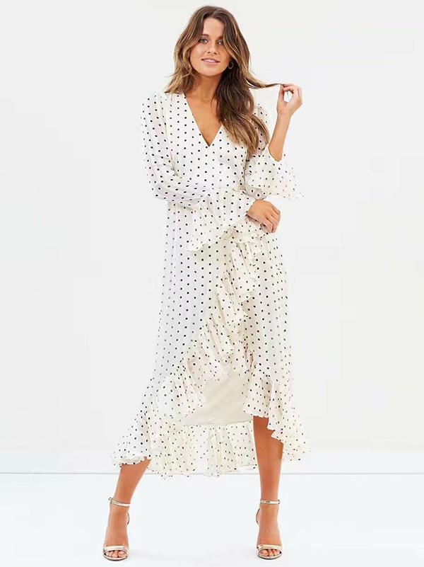Dot Falbala V-neck Maxi Dresses