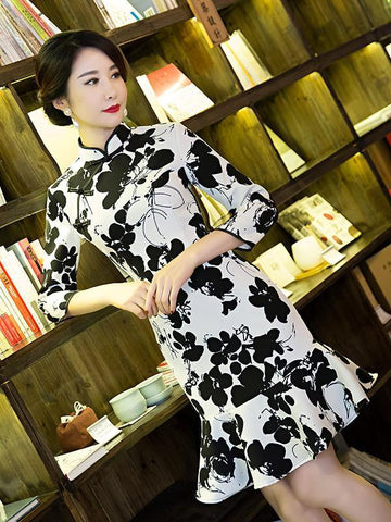 Flower Falbala Short Cheongsam Dress